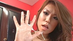 Natural titted Asian providing hj