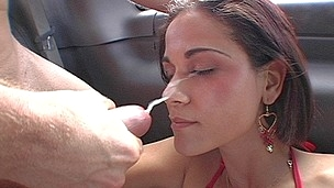 Miss Raquel gets her arse fucked, face spermed