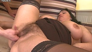 Horny curly housewife gets fucked hard and squirts