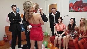 Sexy fucking bombshells at a B-day soiree