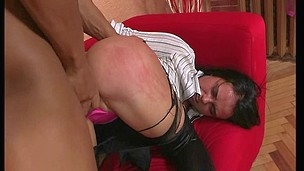Stud copulates chick in butt