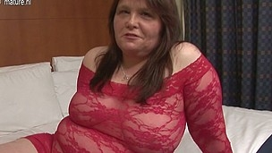Amateur housewife sticks marital-device up her curly love tunnel