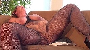 Horny housewife playing with her massive sex plaything