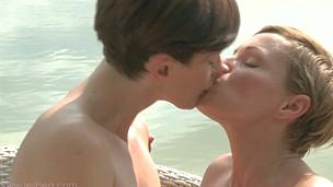 Hot lezzies Lisa and Silvia's explicit outdoor pleasuring