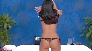 Sexy brunette hair Tiffany bonks and deepthroats her rub-down therapist
