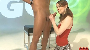Little teen lassie is frightened to get so lengthy fat shaft in her mouth