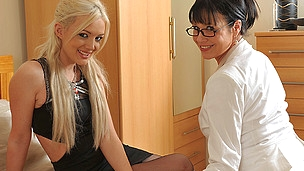 Sinless blond sweetheart doing a wicked older sapphic