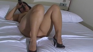 Horny housewife getting wet on her daybed