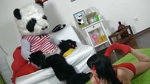 Sexy dark brown hair beauty in crimson tempts Panda