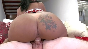 Rollicking latina with congenital tits is satisfying her amateur boss