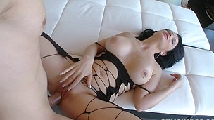 Entrancing and cute latina honey is riding on his voiced penis