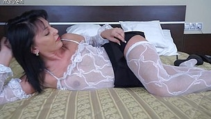 Hawt mother I'd like to fuck playing onher couch