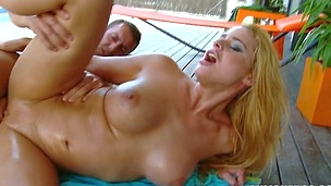 Crazy and sexy chick Cathy Heaven is railing on his full salute