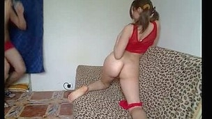 Gf in sexy red underware plumbed