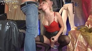 Sexy golden-haired slut gets a superb face fucking
