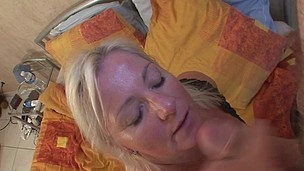 Golden-Haired mama getting her scones packed with cum