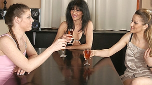 Three old and juvenile lesbian stunners get it on