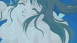 Nasty hentai cutie blowing knobs underwater